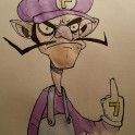 Waluigi - Ink and Watercolour